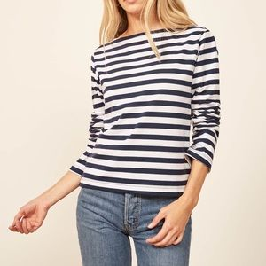 Reformation Jeans Striped Sailor Long Sleeve Tee